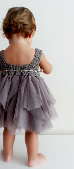 Crochet Baby Girl Baby Tulle Dress with Stretch Crochet Top.Tulle by AylinkaShop Fashion Kids, Baby Girl Fashion, Ladies Fashion, Baby Tulle Dress, Flower Girl Dresses, Dress Girl, Flower Girls, Baby Skirt, Baby Dresses