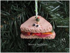 Sandwich Christmas Ornament Sandwich with Olive Ornament Sandwich Triangle Charm Funny Food Ornament Food Ornament Funny Food Bologna Cheese Unique Christmas Ornaments, Personalized Christmas Ornaments, Christmas Decorations, Holiday Decor, Food Humor, Funny Food, Bakers Twine, Woodland Baby, Special Gifts