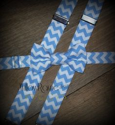 Boys blue bow tie and suspenders - chevron suspenders - toddler bow tie and suspenders - wedding - photo prop - ring bearer -  baby boys tie on Etsy, $32.95