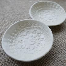 vintage lace porcelain dish set from mrs peterson pottery- availabel at our store http://www.grassrootsecostore.com.au