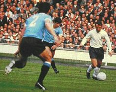 England 0 Uruguay 0 in 1966 at Wembley. Jimmy Greaves prepares to cross the ball in Group 1 at the World Cup Finals. England International, International Football, 1966 World Cup Final, Jimmy Greaves, Football Pictures, Finals, Soccer, Running, Sports Teams