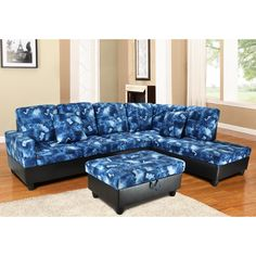 Upgrade your living room with this stylish blue denim sectional sofa set. The extra storage in the ottoman makes it easy to organize your book, remote and magazines, and the two accent pillows allow you to release your stress from the work.