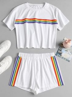 Striped Patched Shorts Set - White S Teen Fashion Outfits, Teenage Outfits, Kids Outfits Girls, Cute Lazy Outfits, Sporty Outfits, Cute Sleepwear, Pride Outfit, Rainbow Outfit, Pajama Outfits