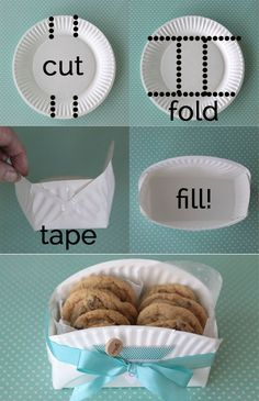 "what a cool idea - make a cookie gift basket from a paper plate! Neat idea (and inexpensive!!) I know its not food, BUT "" 'tis the season"" (I know I'll be using this for foodie gifts!)"