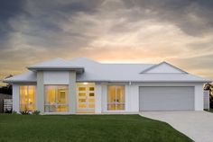 Surfmist render - Shale grey garage colour scheme exterior looks great! House Exterior Color Schemes, White Exterior Houses, Grey Exterior, House Paint Exterior, Exterior Colors, Exterior Design, Brick Facade, Facade House, House Roof