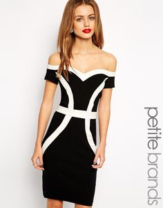 Paper Dolls Petite Bardot Colour Block Pencil Dress