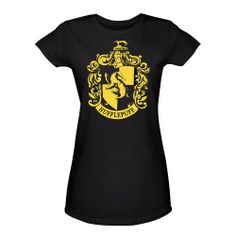 One of my favorite discoveries at HarryPotterShop.com: Harry Potter Hufflepuff Gold Crest Women's Fitted Black T-Shirt