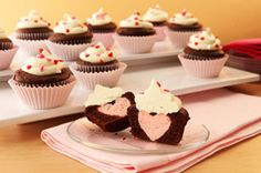Heart surprise cupcakes- perfect for a girly baby shower or bridal shower!