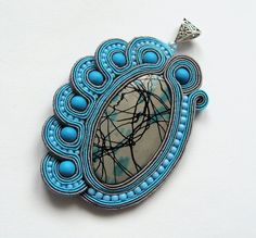 Big soutache pendant handmade embroidered in blue by SaboDesign.