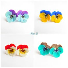 Pansies flower stud earrings Flower jewelry by BeatifulByKsy
