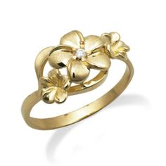 SPRING CLEARANCE SALE! Queen Plumeria Three Flower Ring with Diamonds. 14K Yellow Gold Triple Plumeria Ring. Lifetime guarantee. Flowers are 7mm, 9mm, and 7mm. Center flower has a .02ct diamond. Made in Hawaii.