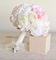 Silk Bridal Bouquet Peonies and Roses