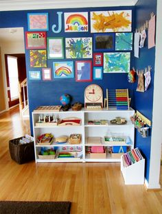 Our Montessori Classroom - I also love the display of his artwork