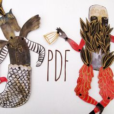 Hybrid Hinged Beasts Articulated Paper Dolls V6 by benconservato (Art & Collectibles, Drawing & Illustration, paper doll, imaginary animal, benconservato, articulated, gold, merman, chimera, dancing, feather, seaweed, striped, adorned, decoration)