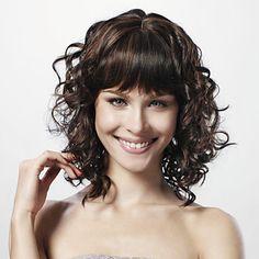 Capless Medium Curly Black 100% Human Hair Wig Full Bang – USD $ 99.99