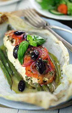 Mediterranean fish and vegetable parcels