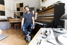 In the studio of a former GDR production facility, Nils Frahm assembled a projector in the centre of the floor.