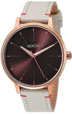 Nixon Womens Kensington Leather Quartz Stainless Steel Casual Watch ColorChampagne Model A1081890 00