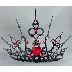 Ultimate Hearts Gothic Tiara Queen of Hearts Crown Queen of Hearts... (£57) ❤ liked on Polyvore featuring costumes, queen of hearts halloween costume, cosplay costumes, goth halloween costumes, gothic lolita costume and role play costumes