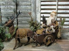 OLde St. Nick in Sleigh  Direct From Artist Sue Corlett~  Available Sunday Dec 9th~ 11 am  http://1897houseprimitives.blogspot.com/