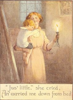 Vintage 1920's Margaret Tarrant Children's Print Mother Carries Young Boy Son Downstairs Candlelight Book Plate Book Illustration