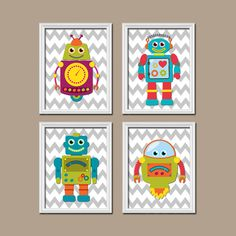 Adorable Whimsical Robot Theme Boy Girl Grey Chevron Pattern Artwork Set of 4 Prints WALL Baby Decor ART Artwork Child Crib NURSERY Bedroom on Etsy, $37.44 CAD