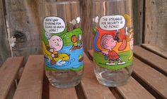 TWO Vintage Snoopy Charlie Brown McDonald's Novelty glasses from 1968 collectible. by JessFindsVintage, $12.99
