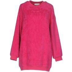 Weili Zheng Short Dress ($207) ❤ liked on Polyvore featuring dresses, fuchsia, pink dress, fuschia long sleeve dress, long-sleeve mini dresses, long sleeve day dresses and pink mini dress