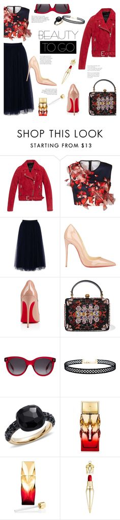 """How Lovely"" by lisalockhart ❤ liked on Polyvore featuring Andrew Marc, Clover Canyon, Little Mistress, Christian Louboutin, Alexander McQueen, LULUS and Pomellato"