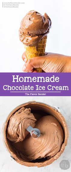 Chocolate Ice Cream made with cocoa powder and real chocolate and is deeply rich in flavor, and creamy and fudgy in texture. Chocolate Ice Cream made with cocoa powder and real chocolate and is deeply rich in flavor, and creamy and fudgy in texture. Mini Desserts, Ice Cream Desserts, Frozen Desserts, Ice Cream Recipes, Summer Desserts, Frozen Treats, Homemade Chocolate Ice Cream, Easy Homemade Ice Cream, Homemade Vanilla