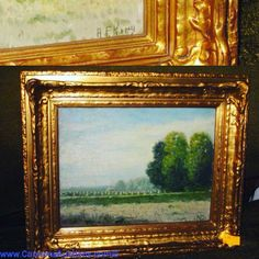"""Oil on Canvas Landscape, Framed Under Glass, Gilt Painted Frame in the Victorian Style, #AlbertFrancisKing (1854-1945, Pennsylvania), Signed Lower Right """"A.F. King"""", FS 15"""" x 18"""" (69) Bids close Tues, 27 Sept from 12pm ET. http://bid.cannonsauctions.com/cgi-bin/mnlist.cgi?redbird63/83"""