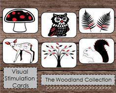 Black White Red High Contrast Baby Flash Cards by PlayfulPrintShop