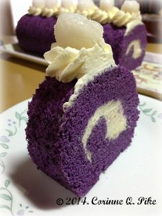 Heart of Mary: Ube cake roll -add 1/4 tsp vanilla, maybe just use grated ubeinstead of halaya?, if using 1/3 cup, increase milk to 1/2 cup bake for 12-15 mins, spread batter evenly in pan, make frosting on same day, invert cake onto another parchment paper before frosting and rolling or onto a kitchen towel and rolling immediately after out of oven