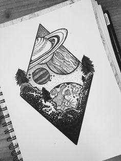 Space tattoo idea. Space drawing - #drawingideas