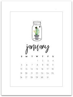 January 2020 Calendar Page Printable - Mason Jar Calendar - Free Calendar Page for 2020 - Mason Jar Calendar Page 2020 - Free 2020 Calendar Printable.