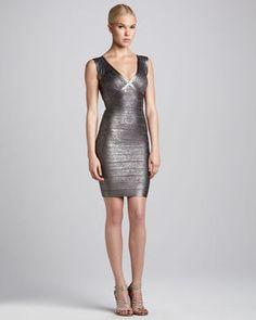 http://elle.shopstyle.com: Herve Leger Metallic V-Neck Bandage Dress