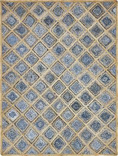 Blue Braided Jute Area Rug