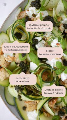 Raw Vegan Recipes, Healthy Salad Recipes, Green Pesto, Buffalo Mozzarella, Mustard Greens, Vegetarian Appetizers, Greek Salad, Cucumber Salad, Healthy Fats