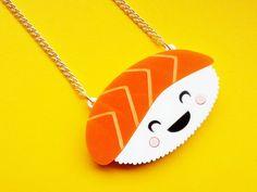 Acrylic Sushi Necklace HAPPY SUSHI Laser Cut by GlitterbombUK, £12.00