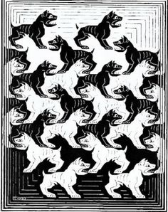 "Skot Foreman Gallery  M.C.  Escher  ""Regular Division of the Plane IV"" 1957 Print Woodcut    9 1/2 x 7 1/8 in  25 x 17 cm Limited-edition of 175 Bool 419 © The M.C. Escher Company B.V."