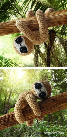 Take a walk on the tropical rainforest with this little amigurumi sloth. Make it with our step-by-step Amigurumi Sloth Crochet Pattern! Crochet Sloth, Kawaii Crochet, Crochet Amigurumi, Crochet Dolls, Crochet Animals, Crochet Hook Set, Love Crochet, Crochet Gifts, Crochet For Kids