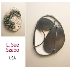 """ntrude  Sterling silver, 22 kt gold bimetal, enamel on copper.  Sifting and hand painted enamel, kiln fired, hand fabricated, and prong set.  2.5"""" X 1.75"""" X 0.125"""" Artist: L. Sue Szabo Photo: Brian Carpenter"""
