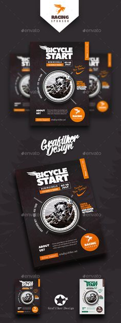Bicycle Racing Flyer Templates — Photoshop PSD #bike • Download ➝ https://graphicriver.net/item/bicycle-racing-flyer-templates/19795549?ref=pxcr