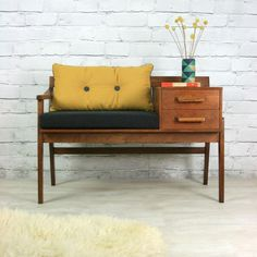 Vintage teak telephone seat - vintage mustard das Casas See Decor, Furniture Design, Retro Furniture, Furniture, Interior, Home Furniture, Telephone Seat, House Interior, Vintage Furniture