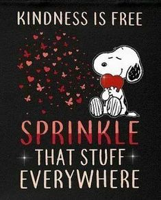 Snoopy and kindness is free sprinkle it everywhere Charlie Brown Quotes, Charlie Brown Y Snoopy, Peanuts Quotes, Snoopy Quotes, Snoopy Song, Snoopy Images, Snoopy Pictures, Peanuts Cartoon, Peanuts Snoopy