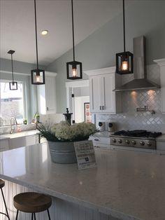 Lights above kitchen island