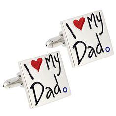 """Valentine's Day """"I Love My Dad"""" Heart Cufflinks"""