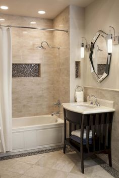 70 Lovely Bathroom Tile Remodel Ideas - Page 32 of 71 Neutral Bathrooms Designs, Neutral Bathroom Colors, Bathroom Design Small, Neutral Colors, Bathroom Designs, Light Colors, Bathtub Remodel, Minimalist Bathroom, Bathroom Interior