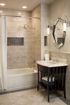 70 Lovely Bathroom Tile Remodel Ideas - Page 32 of 71 Neutral Bathrooms Designs, Neutral Bathroom Colors, Neutral Colors, Bathroom Designs, Light Colors, Bathroom Renovations, Home Remodeling, Bathroom Remodelling, Bathtub Remodel
