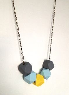 Modern Necklace With Handpainted Geometric Wooden Beads (Yellow Gray Blue)